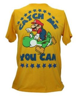 "Super Mario Brothers Mens T Shirt   ""Catch Me If You Can"" Mario Riding Yoshi Clothing"