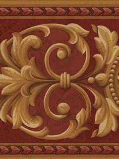 Medallion Red Gold Wallpaper Border