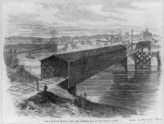 Railroad bridge over the Cumberland, Nashville, Davidson County, Tennessee, TN, 1862   Prints