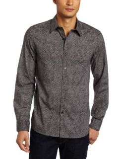 Kenneth Cole New York Men's Leopard Print Shirt, Black Combo, Small at  Men�s Clothing store