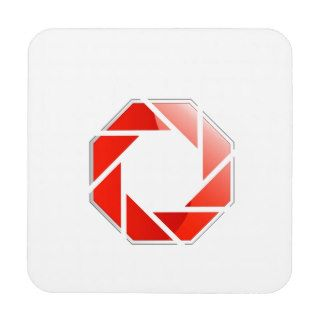 Photography aperture on a hexagonal stop sign drink coasters