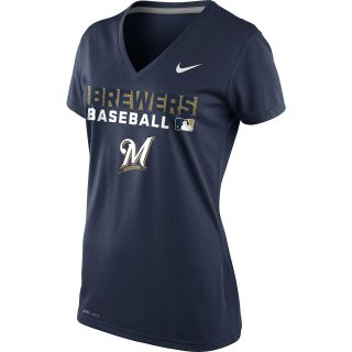 NIKE Womens Milwaukee Brewers Team Issue Performance Legend Logo V Neck T