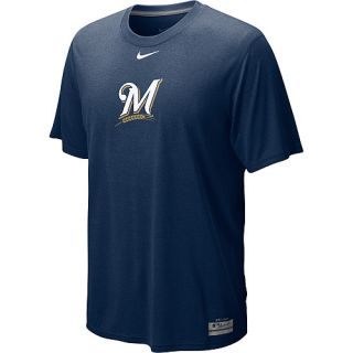 NIKE Mens Milwaukee Brewers AC Dri Fit Logo Legend Short Sleeve T Shirt   Size: