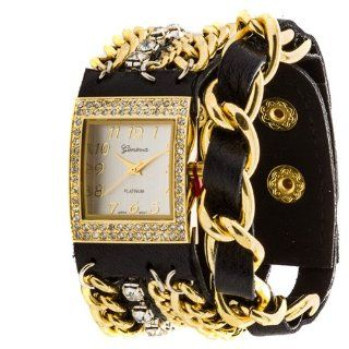 Geneva Platinum 12956612 Women's Rhinestone Studded and Chain Simulated Leather Watch  BLACK/GOLD Watches