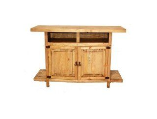 Honey Rustic TV Stand With Shelves Western Real Wood Console Flat Screen   Television Stands