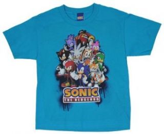 Sonic Gang   Sonic The Hedgehog Boys T shirt Youth Small (6 8)   Teal Clothing