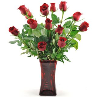 (Mother's Day Pre Order) Sweet in Bloom One Dozen Red Roses with Vase Sweets in Bloom Pre Order Flowers