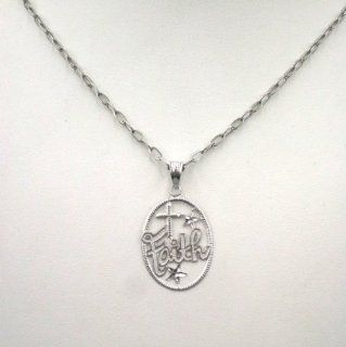 "10k Gold Oval Shape Diamond Cut Faith Pendant with Cross. Free Complimentary 18"" Hammered Cable Chain Included. Stainless Steel: Jewelry"