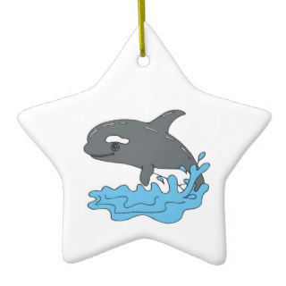 cute cartoon orca killer whale christmas tree ornament