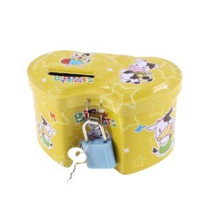 Home Heart Shape Yellow Piggy Bank Coin Money Saving Box Case 9.5cm Long   Collectible Figurines