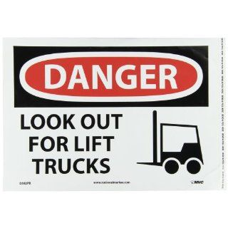 "NMC D582PB OSHA Sign, Legend ""DANGER   LOOK OUT FOR LIFT TRUCKS"" with Graphic, 14"" Length x 10"" Height, Pressure Sensitive Vinyl, Black/Red on White: Industrial Warning Signs: Industrial & Scientific"