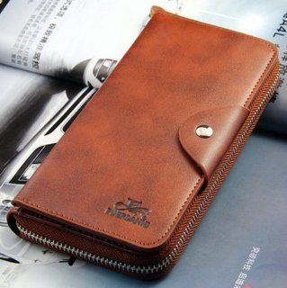 Big Mango Multi purpose Fashion Beautiful Long Business Gentleman Style Mens Pure Colour Double layers Cellphone PU Leather Purse Bag and Clutch Zipper Wallet & Snap Buttom Closure with Inner Multiple Card Holders for Apple Iphone 4 4s Iphone 5 Iphone