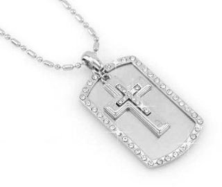 Double Cross   Dog Tag Pendant Coved With Rhine Stones Necklace Pendant free Chain  Other Products