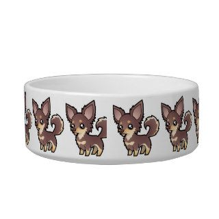 Cartoon Chihuahua (long coat) Cat Food Bowls
