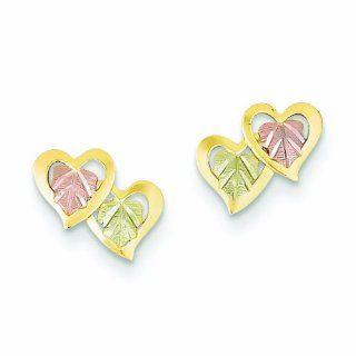Genuine 10K Yellow Gold Black Hills Gold Heart Earrings 0.5 Grams Of Gold: Dangle Earrings: Jewelry