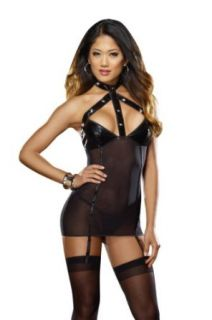 Dreamgirl Women's Sheer Sin Strappy Garter Slip With Faux Leather Bra Cups And Thong, Black, One Size Clothing