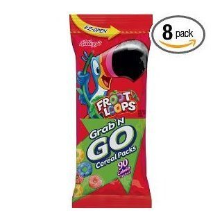 Kellogg's Froot Loops Grab 'N Go Cereal 8 boxes of 8 90 Calorie packs  Breakfast Cereals  Grocery & Gourmet Food