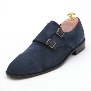 Men's Handmade Blue Suede Double Monk Strap Loafer Shoe By Angel Cola Shoes