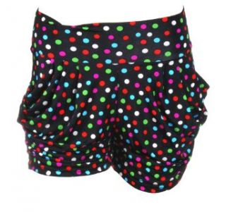 Loose Fitting Mini Stretch Shorts in Black with Polka Dots