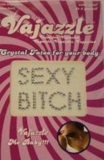 Holiday Gift Set Of Vajazzle Sexy Bitch And a box of Trojan ribbed condoms ( 3 condoms total in Package): Health & Personal Care