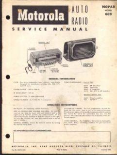 Motorola Auto Radio Model 609 Manual 1953 Dodge Entertainment Collectibles