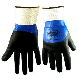 Global Glove 590 Tsunami Grip Polyester Foam Nitrile Glove, Work, Extra Small, Black/Blue (Case of 72) Industrial & Scientific