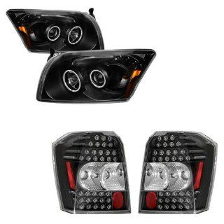07 11 Dodge Caliber Black CCFL Projector Headlights with LED Bar + LED Tail Lights Combo Automotive