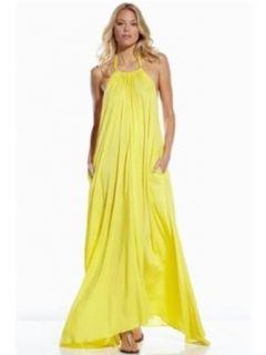 An Elan Usa Maxi Halter Tie Flowy Long Dress (RY597) at  Women�s Clothing store