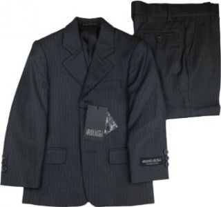 ARMANDO MARTILLO Boys Charcoal Pinstripe 3 Piece HUSKY Suit   605 PV2D: Clothing