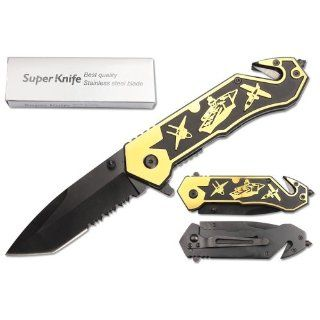 US NAVY AIRCRAFT CARRIER LASER ETCHED RESCUE FOLDING KNIFE  GOLD TONED  Other Products