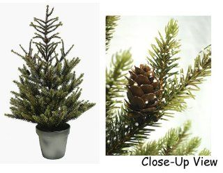 """24"""" Artificial Potted Dwarf Spruce Evergreen Tree With Pine Cones #LDS 709 24"""