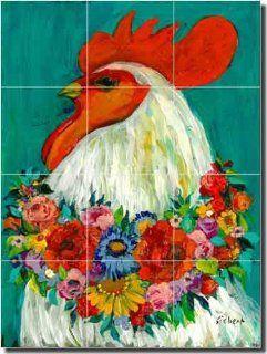 "Floral Rooster by Bonnie Siebert   Rooster Chicken Ceramic Tile Mural 18"" x 24"" Kitchen Shower Backsplash"