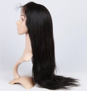 Angel_Halo Full Lace Wig 100% Real Human Hair Remy Indian Handmade Natural Straight 24 Inch (1# jet black) : Hair Replacement Wigs : Beauty