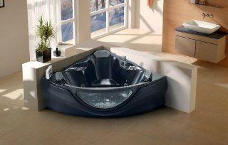 2 Person Whirlpool Bathtub Computerized 14 Massage Jets Built in Heater Corner Fitting SPA Hot Tub TV FM  CD Venezia Black   LT 657 BK   Drop In Bathtubs