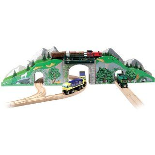 2 Item Bundle: Melissa & Doug 637 Mountain Bridge and Tunnel Set + Free Gift   Fits Thomas Train Tracks: Toys & Games