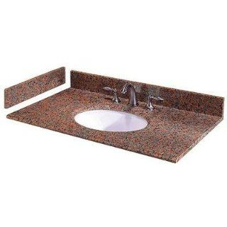 49 In. W Granite Vanity Top with White Bowl and 8 In. faucet spread in Montero   Vanity Sinks