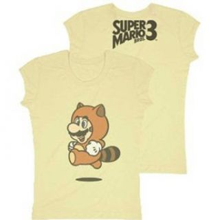 Nintendo Super Mario Bros. 3 Mario Raccoon Juniors Girly T Shirt, Brown, Small Clothing