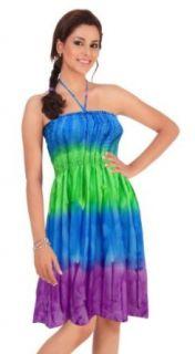 La Leela Multicolor Tie Dye Stripe Printed Short Halter Tube Dress at  Women�s Clothing store