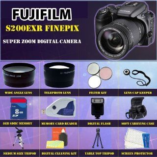 Fujifilm S200EXR FinePix Super Zoom Digital Camera + Best Value 8GB, Carrying Case, Lens & Tripod Complete Accessories Package : Slr Digital Cameras : Camera & Photo