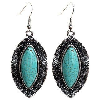 Yazilind Blue Rimous Carved Pattern Leaf Shape Pure Tibetan Silver Navette Turquoise Drop Dangle Earrings for Girl: Earrings For Teen Girls: Jewelry
