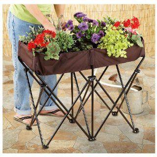 NEW Portable Folding Pop up Flower Pot Plastic Coated Canvas Pot w Metal Legs  Planters  Patio, Lawn & Garden