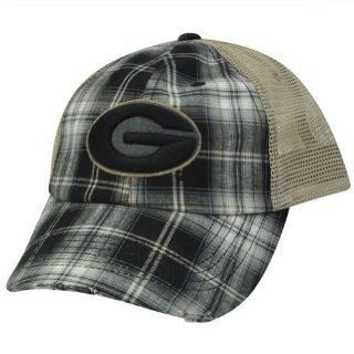 7126bc04c7c ... NCAA Plaid Mesh Distressed Trucker Snapback Hat Cap Georgia Bulldogs  Dawgs   Sports Fan Baseball Caps ...