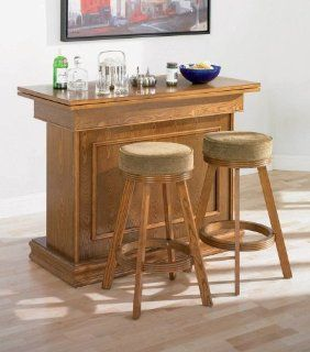 3pc All In One Game Table/Bar Unit & Bar Stools Set Oak Finish   Home Bars