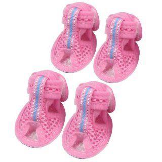 Summer 2 Pair Rubber Soles Pink Nylon Pet Dog Sandals Shoes Size XS  Pet Boots