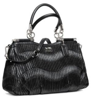 Coach Madison Gathered Leather Carrie Convertible Handbag 21281 Black Silver Top Handle Handbags Shoes