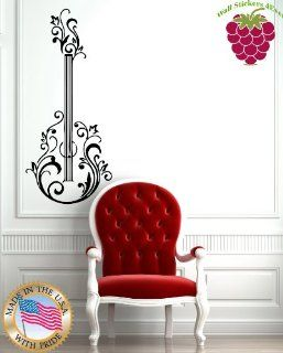 Wall Stickers Vinyl Decal Guitar Floral Music Rock&Roll Positive Mural z655   Wall Decor Stickers