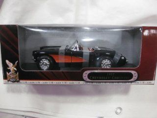 1957 Chevrolet Corvette Convertable In A Black With Red Incerts 1:18 Scale Diecast Deluxe Edition With Opening Doors, Hood & Trunk & Comes On It's Own Display Stand From Yat Ming 2001: Toys & Games