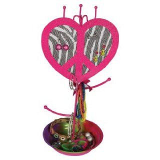 Molly 'n Me Zebra Print Peace Heart Jewelry Holder: Clothing