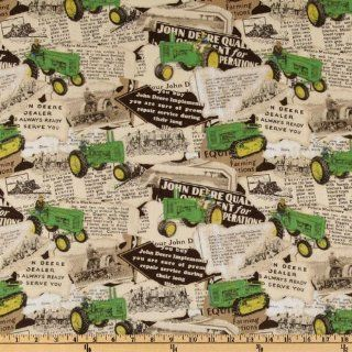 44'' Wide John Deere Vintage Tractor News Ad Brown Fabric By The Yard