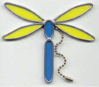 Dragonfly Stained Glass Ceiling Fan Light Pull  Yellow/ Blue   Stained Glass Window Panels